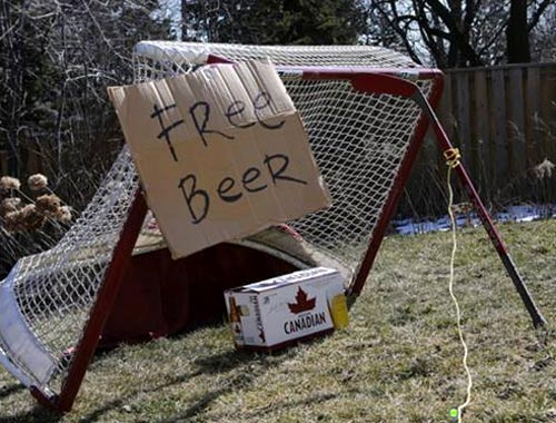 Hockey Net With Beer Trap A Canadian