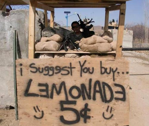 Funny Soldiers Lemonade Stand