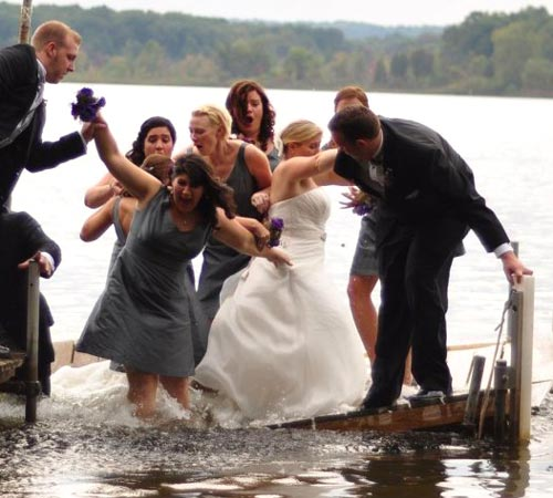 Wedding Party Photo As Dock Sinks