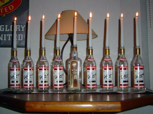 Stoli Vodka Menorah With A Rye Shamash