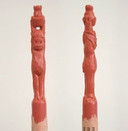 Carved Crayon Pig Sculpture