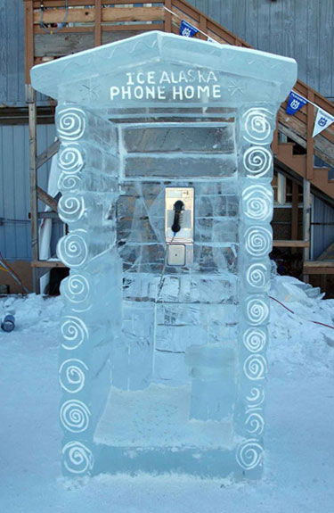 Ice Block Phone Booth