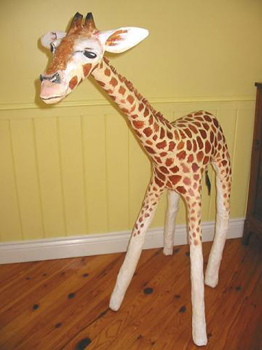 Four Feet Tall Paper Mache Giraffe Sculpture
