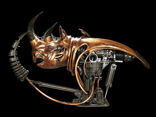 Robot Rhinoceros Sculpture