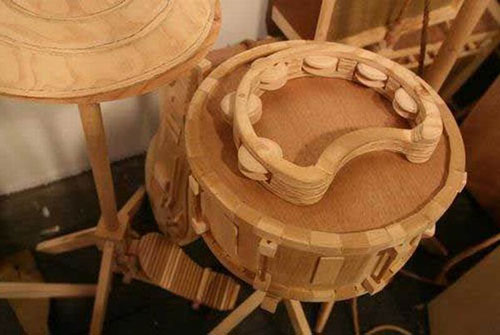 Carved Wood Drum Sculptures