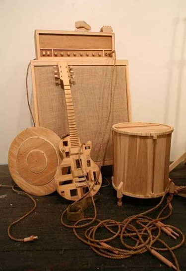 Guitar and Amp Wooden Sculpture