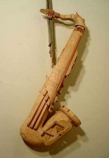 Wood Saxaphone Sculpture
