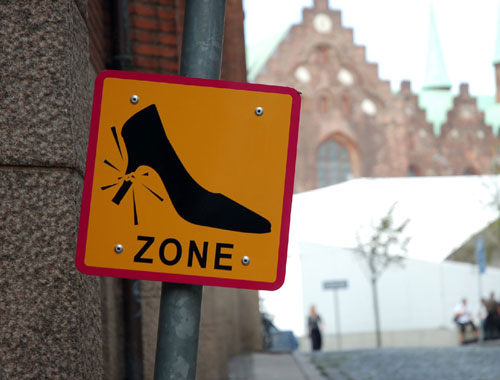 Broken Heel Zone Sign