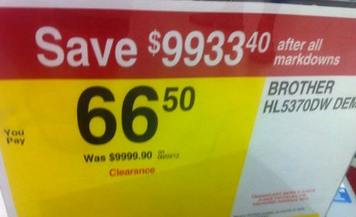 Decimal Error Clearance Sign - Save Thousands After All Markdowns