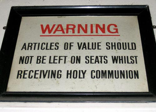Holy Communion Warning Sign