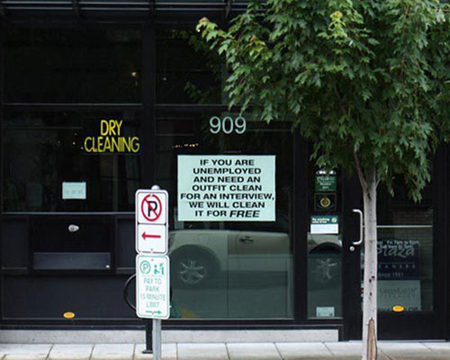 Dry Cleaners Offering Complimentary Service To Unemployed Preparing For An Interview