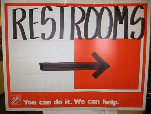 Home Depot Restroom Sign