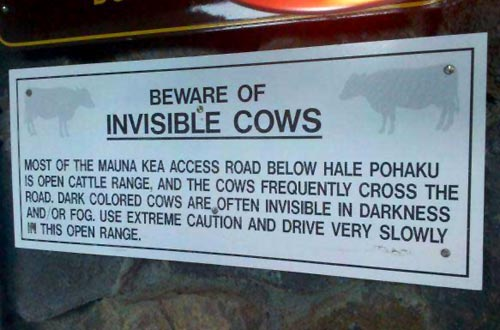 Beware Of Invisible Cows Sign