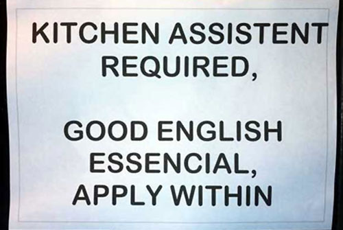 English Help Wanted Sign