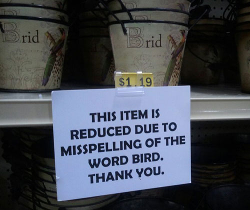 Item Reduced Due To Misspelling Sign
