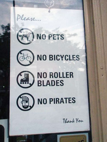 No Pirates Sign