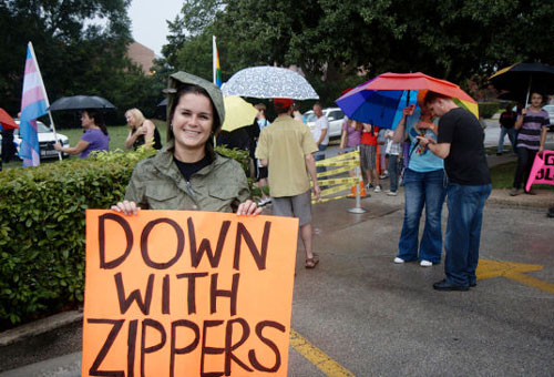 Down With Zippers Sign