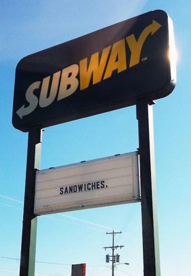 Subway Sandwiches Sign