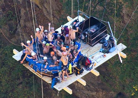 Hanging A Jacuzzi From The Gueuroz Bridge In Switzerland