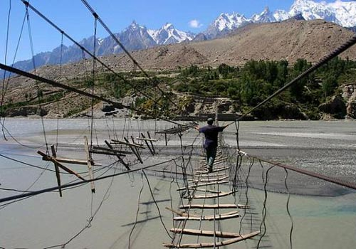 Hussaini Bridge in Pakistan