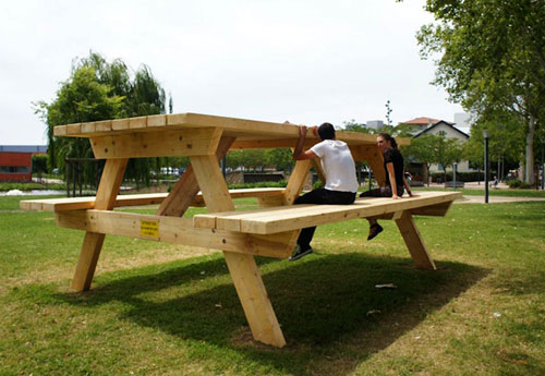 Giant Picnic Table At Square Saint-Exupery In Colomiers